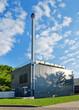 Leinwanddruck Bild - Modernes Blockheizkraftwerk BHKW mit Kraft-Wärme-Kopplung