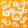 Speech bubbles with Halloween symbols. Vector background