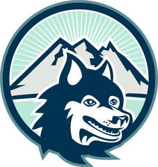 Siberian Husky Dog Head Mountain Retro