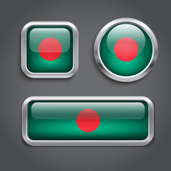 Bangladesh flag glass buttons