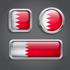 Bahrain flag glass buttons