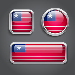 Liberia  flag glass buttons