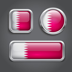 Qatar flag glass buttons