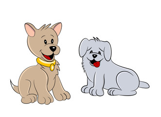 An illustration of two cute cartoon dogs