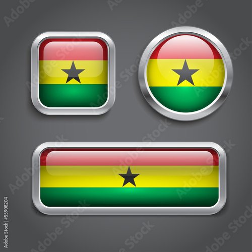 Ghana flag glass buttons