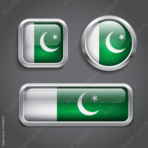 Pakistan  flag glass buttons