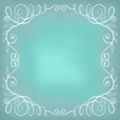 Beautiful turquoise background with frame. Hand drawn calligraph