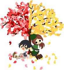赤い葉っぱと黄色い葉っぱの不思議な木の下に佇む男女。