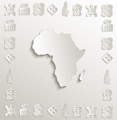 Africa map symbol frame paper 3D