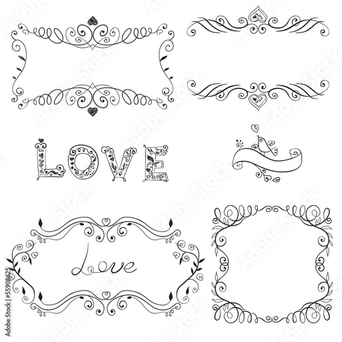 Set of calligraphic design elements. Vector illustration.