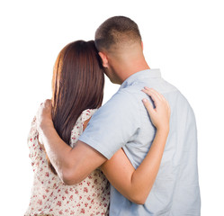 Military Couple From Behind Hugging Looking Away on White