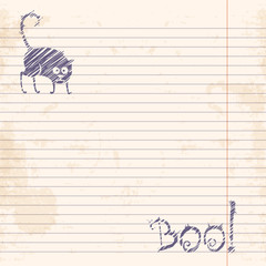 Halloween cat. Boo! Sketch on notebook ruled paper