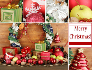 Composition from Christmas decorations on wooden background