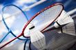 Leinwandbild Motiv Shuttlecock on badminton racket