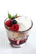 Morning dessert with berries and cream cheese