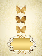 Card with a gold butterfly and place for your text