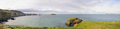 Panoramic view with Northern Ireland coastline and sea.