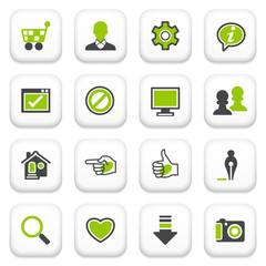 Basic icons. Green gray series.
