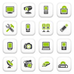 Electronics icons. Green gray series.