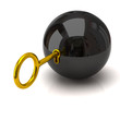 Black sphere and golden key
