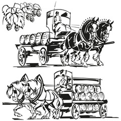 Two beer wagons and a hop branch