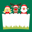 Angel, Rudolph & Santa Label Dots Green Forest