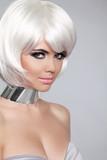 Fashion Beauty Portrait Woman. White Short Hair. Beautiful Girl'