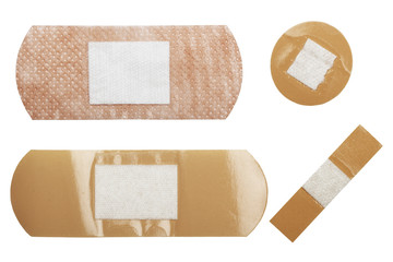 adhesive plasters  isolated on white
