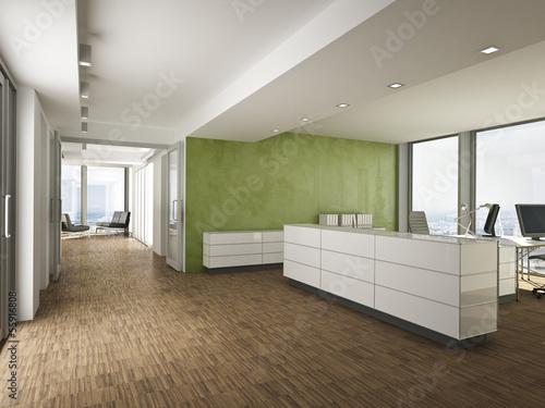 Leinwanddruck Bild Büro Empfang mit grüner Wand