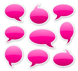 stickers of pink glossy rounded comics text bubbles