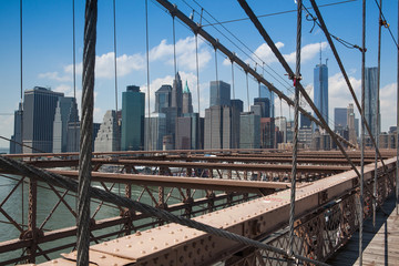 Detail of historic Brooklyn Bridge in New York