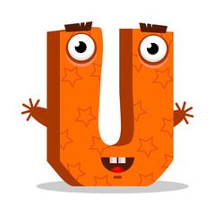 Letter U monster. Vectorial illustration