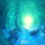 Abstract blue shining circle tunnel background