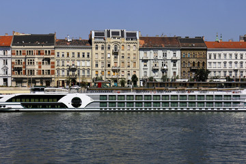 Cruiser with tourists on Danube River in Budapest, Hungary