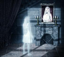 Sad ghost looking on portrait