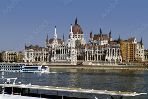 Danube river in Budapest in front of Hungarian Parliament