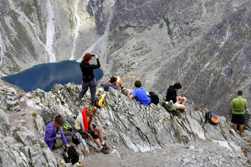 View from peak Krivan in national park High Tatras in Slovakia