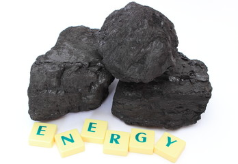 Large coal lump on white background