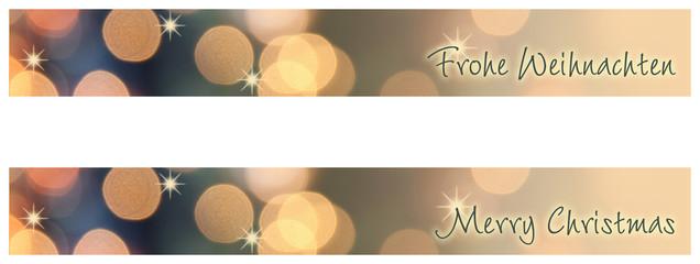 frohe weihnachten, merry christmas banner mit bokeh