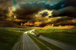 Beautiful view on the road under sky with clouds