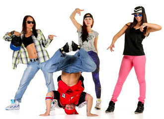 Hip hop gang: one male, three females.
