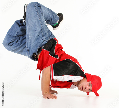 Man performing break dance positions