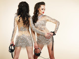 Fete. Clubbing. Women in Shiny Silver Dresses with Rhinestones poster