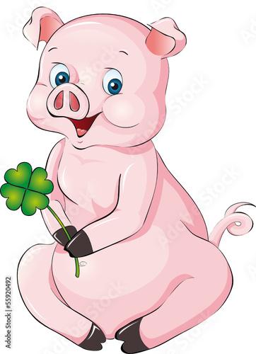 vektor schweinchen mit kleeblatt