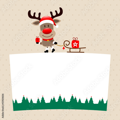 Rudolph With Gift Pulling Sleigh On Label Beige