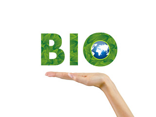text bio in the palm of hand,ecology,background