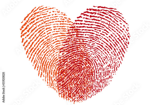 red fingerprint heart, vector