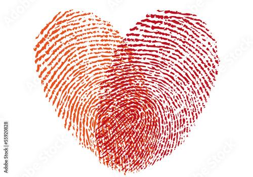 czerwony odcisk palca serca, wektor