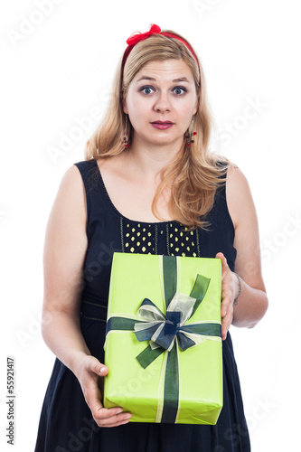 Shocked woman with present