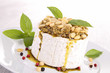 cheese with pesto and pine nut